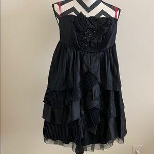 Black satin tulle strapless Betsey Johnson dress